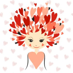 Lovely girl with stylized hair as hearts. Romantic vector illustration. Valentines background.