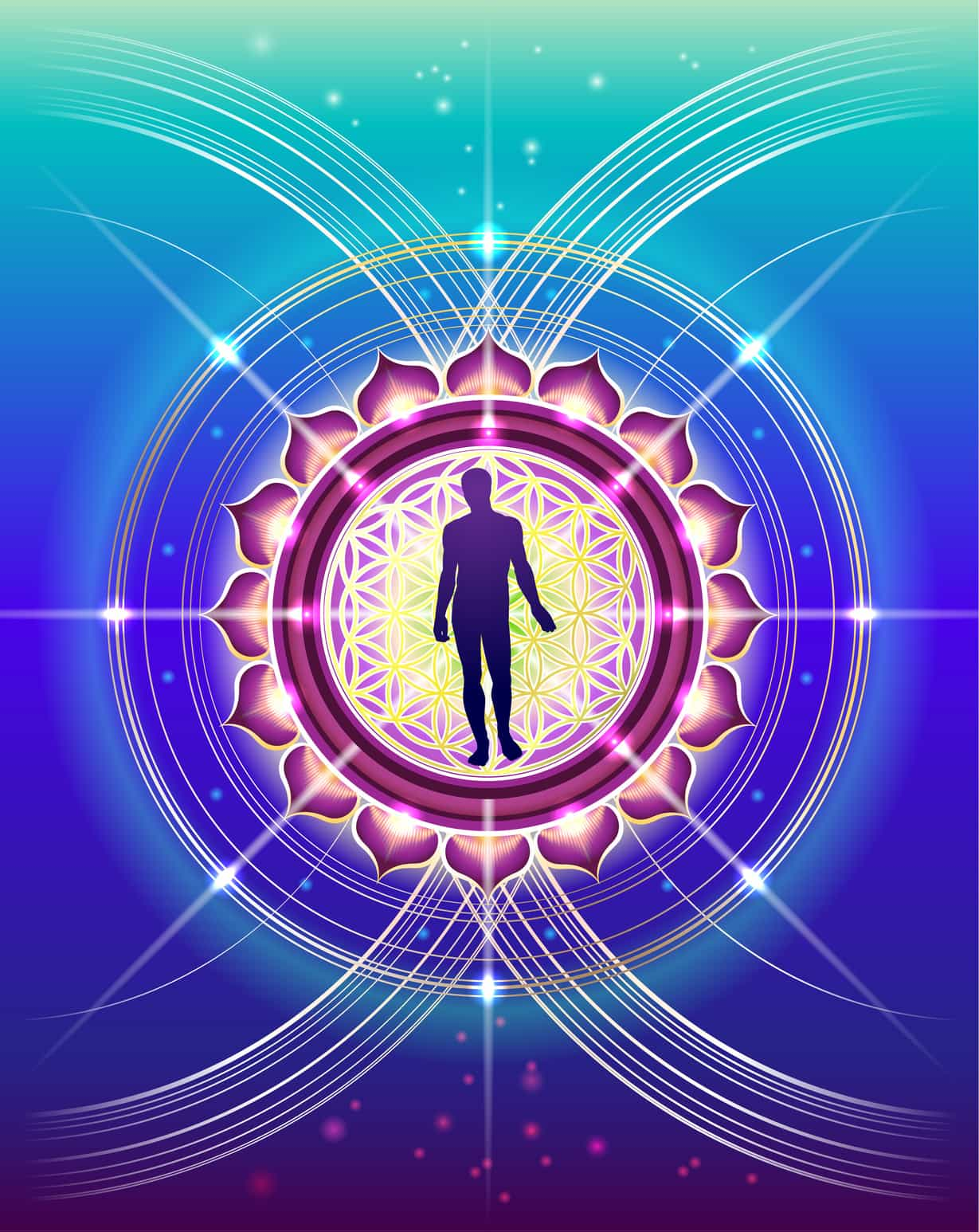 The symbolic, abstract image of human development with elements of sacred geometry as a scientific method for the study of life, nature and the cosmos.